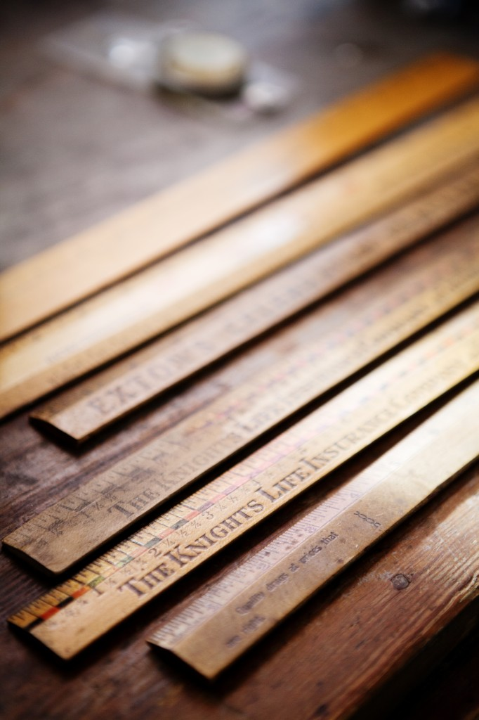 detail south room wooden rulers