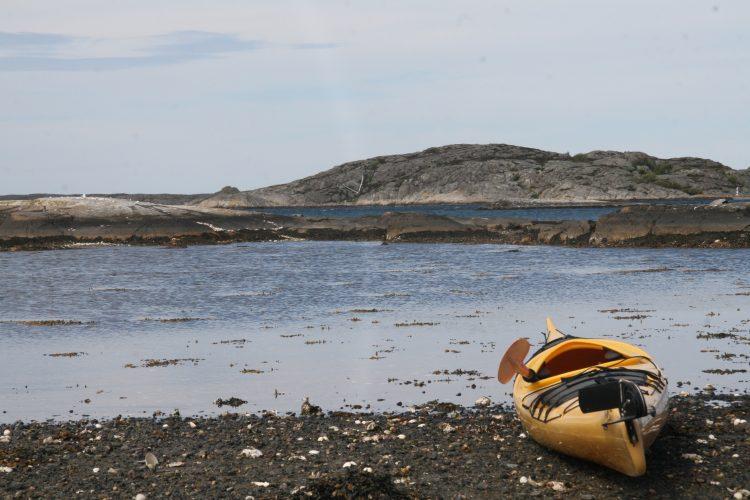 kayak on beach of swedish west coast